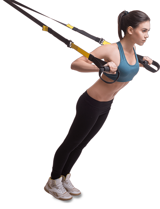 Photo of a woman using TRX